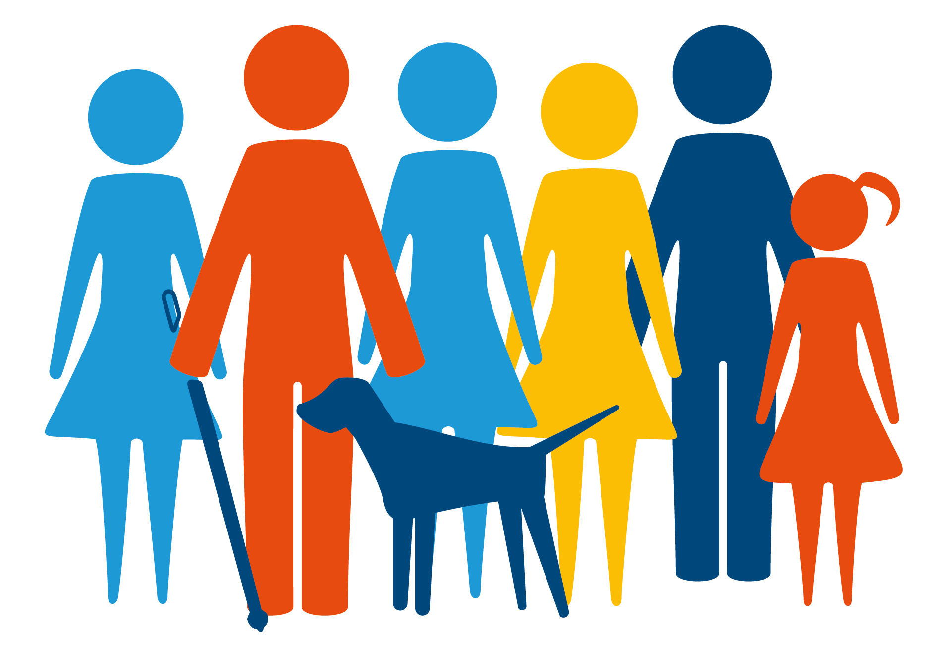 6 people and a dog all cartoon and coloured different colours like: light blue, orange, dark blue, yellow, red