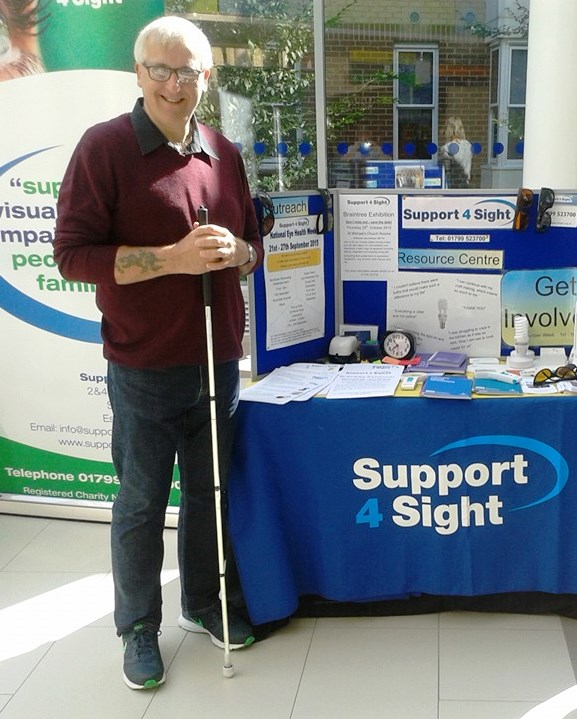 Graham at a support for sight stall