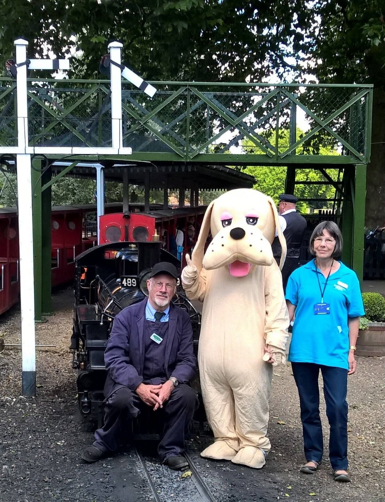 Semour with a train driver and a support for sight memeber at Audley end