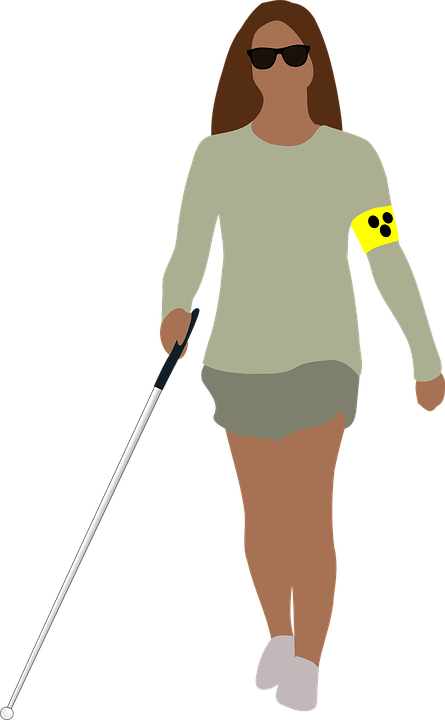 Blind lady with her White Cane