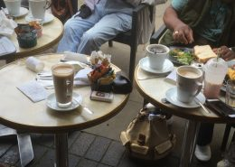 Tables with coffee from coffee morning
